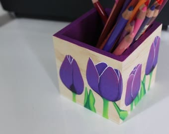 "Pencils ""purple tulips"" pot - My Little Painted Boxes"
