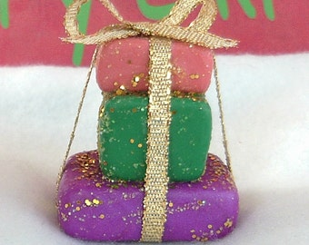 Christmas Present Tower Ornament;Polymer Clay Present Tower;Present Tower;Fairy Garden Present;Secret Santa;Office Gift