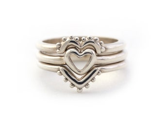 Nesting Heart Trio Stacking Set in Sterling Silver