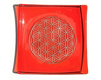Orange glass plate with platinum Flower of Life