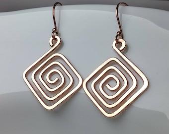 Sterling Silver, Copper Earrings, Greek Key Earrings Scroll Earrings Copper Jewelry Greek Jewelry Minimalist Earrings Geometric Jewelry Gift