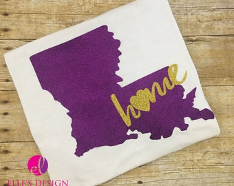 Purple and Gold Louisiana Home Ladies Glitter Tee or V Neck