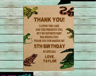 Reptile Lizard Snake Alligator Frog Turtle Birthday Party Thank You Note Cards Personalized Custom ~ We Print and Mail to You