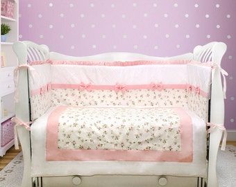 Baby girl crib bedding set: princess bedding, pink nursery decor (031)