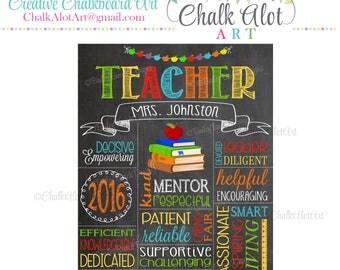 Teacher Appreciation Gift, Teacher Chalkboard Sign, Best Teacher, #1 Teacher, Personalized Teacher Gift, End of the Year Teacher Gifts