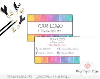 Business Cards, Polka Dots | Custom Printable Business Card