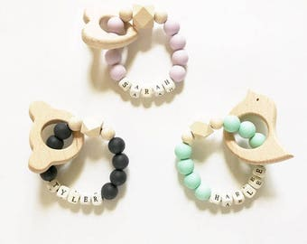 Personalized baby silicone teething rings