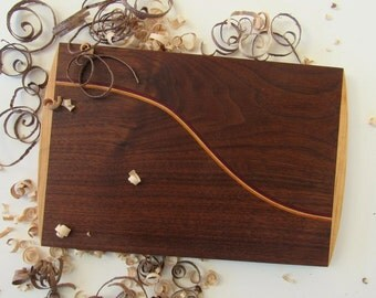 Wood Cutting Board, Serving Board, Walnut Cutting Board, Inlaid Exotic Wood, Hardwood Cutting Board, Cheese Board, Housewarming Gift