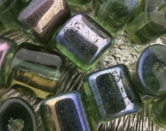 Loose Czech Glass Beads, Green beads, 9 mm Barrel beads, Green Czech Glass Beads, Wholesale #0755