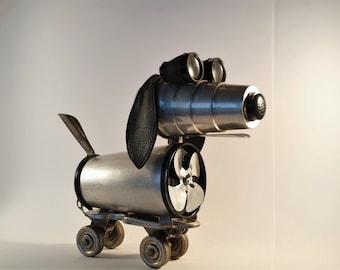 Steampunk Sculpture Dog - Found object Robot - Recycled Art - Dogbot - Vintage Roller Skate - Metal Art