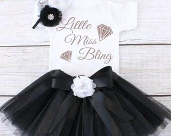 Little Miss Bling. Baby Tutu Outfit. Girl's Outfit. Girl's Tutu Outfit. Girls Tutu Set. Girl's Clothing. T12 GRL (BLACK)