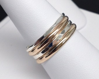 SALE!!! Lea and Andre™ Set of 4 Two-Tone Sterling Silver/Gold-Filled Rings, Facet/Half-Round, Free Shipping