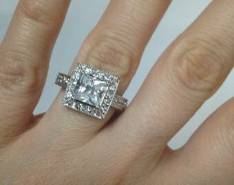 Hand-Setting, 2.00ct Princess Halo Ring .925 Sterling Silver Ring, Diamond Simulant Engagment Ring