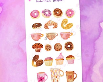 Watercolor Bakery Donuts Cupcakes Muffins Coffee Mugs Teacups Planner Stickers