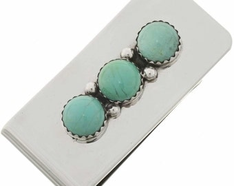 Turquoise Silver Money Clip Southwest Handmade Accessory