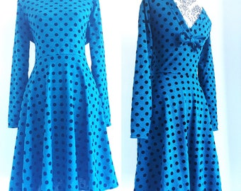 Skater dress - teal knit with black flocked polka dots - sizes XS to 5XL
