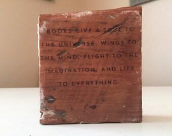 Plato on Books Wood Sign