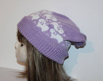 Lilac Slouchy Beanie with White Sheep - with or without a pompom
