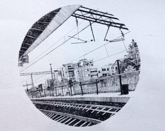 Original Ink Pen Drawing, Barcelona Train Station