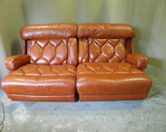 Lovely Retro Orange Leather Tetrad Modular Settee or Pair Lounge Chairs