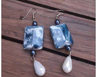 Blue and white and blue earrings (wonderful gift for mother's day, Christmas, handmade/beautiful gift, birthday)