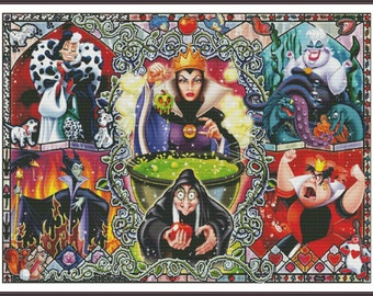 Cross Stitch Pattern Disney Villains Cartoon DIY Modern Needlepoint Chart Printable PDF Instant Download