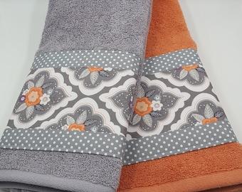 Coral and Grey Towels, Floral Towels, Bathroom Decor, Decorative Towels, Towel set, Custom Towels, Designer Fabric Towels, Polkadots