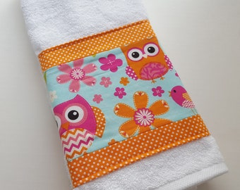 Hot Pink And Orange, Owl Towels, Fun Towels, Kids Bathroom Decor, Kids