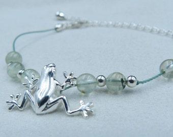 Frog bracelet, prehnite and sterling silver