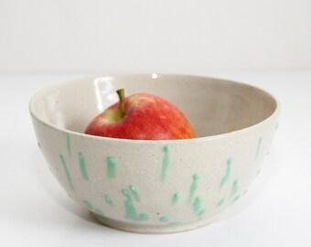 green dripping bowl, shiny, wheel thrown, handmade, ceramic, glazed