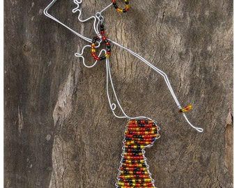 African Wire Woman, African Art, Wall Hanging, Beaded and Wire Art, Made in South Africa, Hand Made, Lady with Bowl