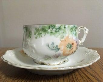 Vintage 1920s German Teacup and Saucer by Elysee