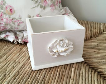 Shabby Chic Desk Supply Caddy, Marker Holder, Pen/Pencil Holder, Off-White, Lightly Distressed