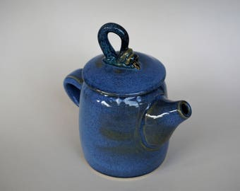 Ceramic Teapot, Stoneware Clay, Blue