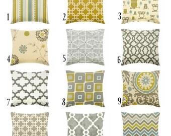 mustard yellow pillow - gray pillows - citrine pillow - blue pillow - pillow cover - cushion cover -ZIPPER CLOSURE