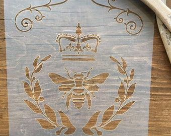 Damask Stencil, Bee Stencil, Crown Stencil, Vintage damask Stencil, French Stencil, Scroll Stencil, Furniture Stencil, Wall Stencil, Artwork