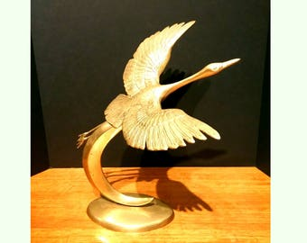 Vintage Large Flying Brass Crane Bird Sculpture