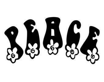 Hippy Peace With Flowers - Sticker/ Vinyl / Decal