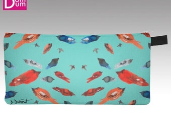 Case to pencil or makeup, little fish-birds on a turquoise background