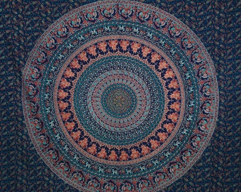 Free Shipping!!! Navy Blue and Peach Mandala Tapestries Indian Dorm Decor