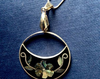 Vintage Sterling Silver and Abalone Necklace