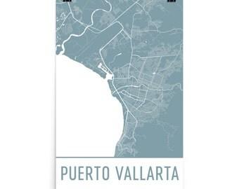 Puerto Vallarta Map, Puerto Vallarta Art, Puerto Vallarta Print, Puerto Vallarta Art Poster, Puerto Vallarta Wall Art, Puerto Vallarta Gift
