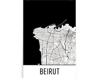 Beirut Map, Beirut Art, Beirut Print, Beirut Lebanon Poster, Beirut Wall Art, Map of Beirut, Beirut Poster, Beirut Gift, Lebanon Print