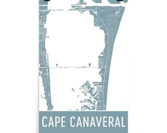 Cape Canaveral Map, Cape Canaveral Art, Cape Canaveral Print, Cape Canaveral FL Poster, Cape Canaveral Wall Art, Map of Cape Canaveral Gift,