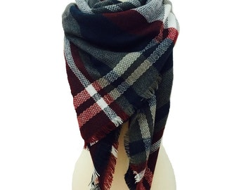 Grey Blanket Scarf, Winter Scarf, Chunky Scarf, Gift For Her, Plaid Scarf, Oversized Scarf, Blanket Plaid Scarf, Plaid Blanket Scarf Wool