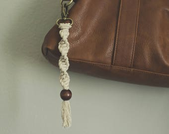 Macrame Keychain Dark Bead