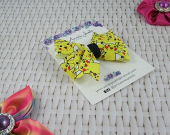 Pinwheel Hair Bow Clip - Pikachu / Pokemon