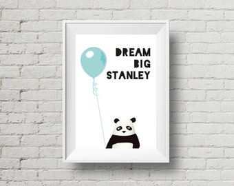 Personalized Panda Print, Digital Download, Panda and Balloon, Baby Nursery Print, Personalised Dream Big Quote, Black and White, Cute Panda
