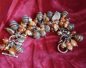 Orange Cha Cha Bracelet- Copper Cha Cha Bracelet- Cluster Bracelet- Chunky Bracelet- Orange Beaded Bracelet- Copper and Orange Bracelet