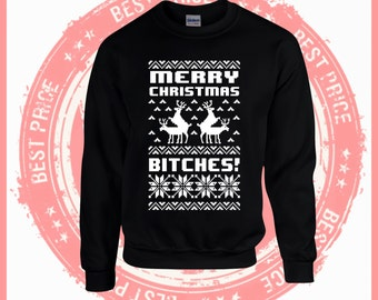 On Sale Today Merry Christmas Bitches-Ugly Christmas sweater-Merry Christmas sweater-Hotline bling-drake-ugly sweater party-Ya filthy Animal